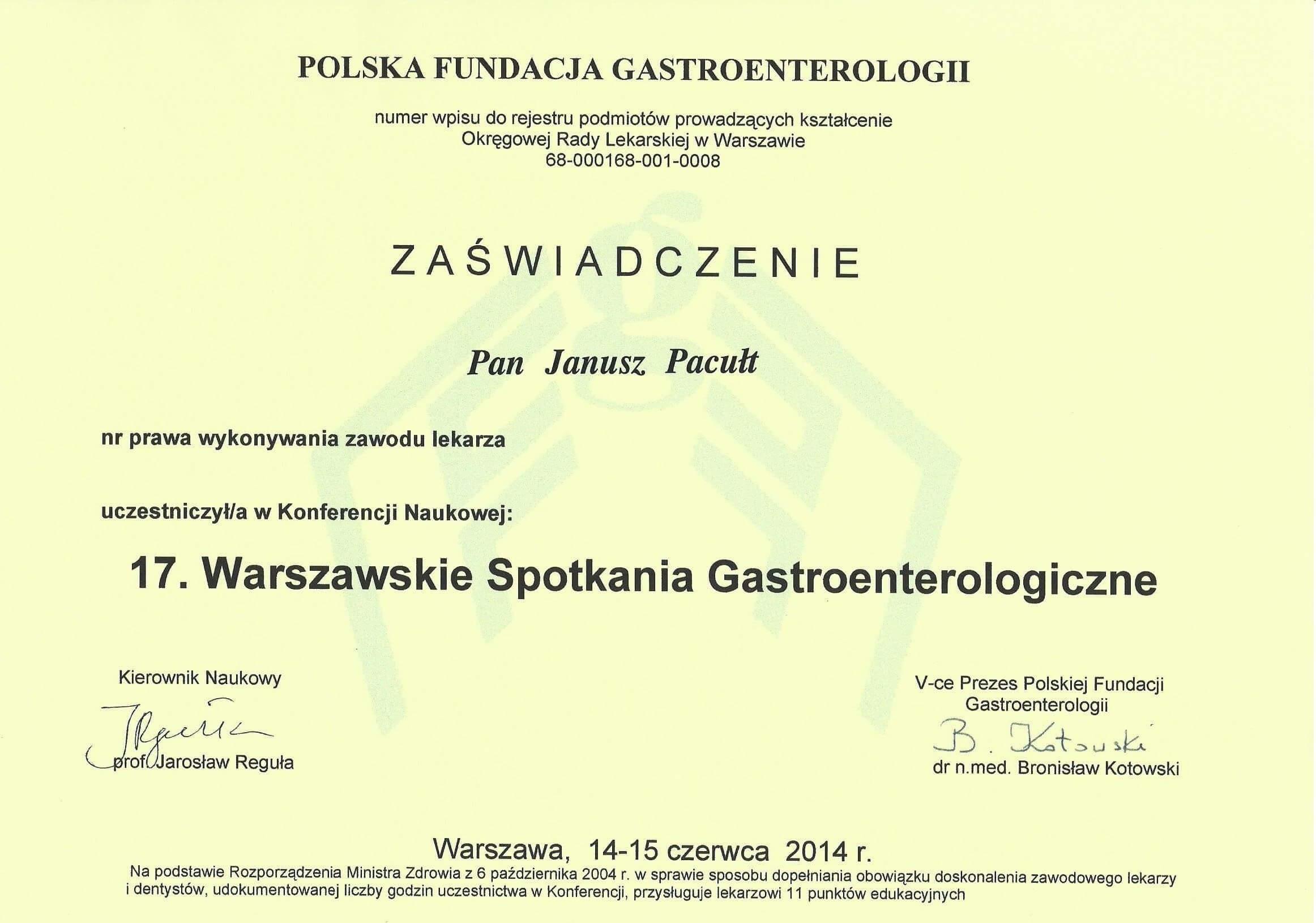 Scan 2014 Warszawskie Spotkania Gastroeterologiczne